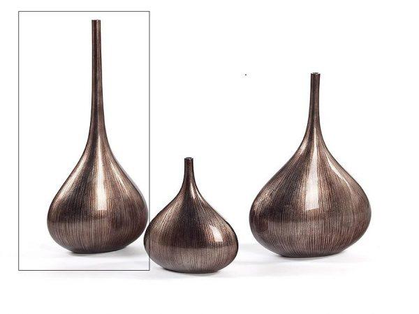 1045 Tall Bottle Vase, Striped Grey