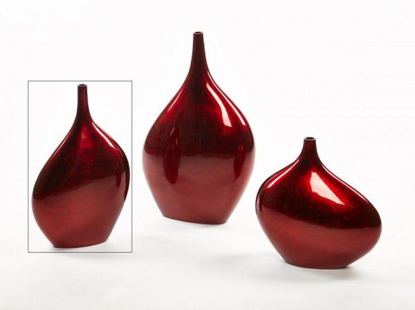 306 Large Asymmetric Bottle Vase, Warm Red